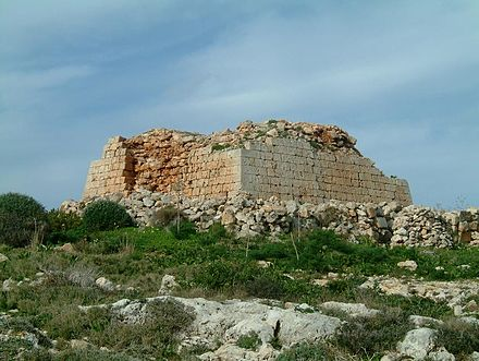 Ruins of the Ghajn Hadid Tower, which collapsed in an earthquake in 1856 Ghajn Hadid Tower closer view.JPG