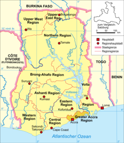 Map of Ghana showing the location of Accra.