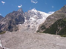 glacier flowing steeply downhill from Mont Blanc