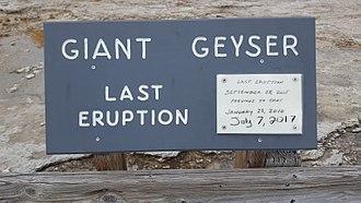 Giant Geyser - Giant Geyser Last Eruption