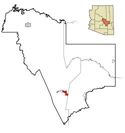 Gila County Incorporated and Unincorporated areas Globe highlighted.svg
