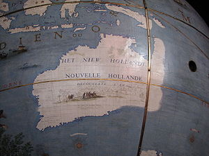 New Holland (Australia) - New Holland as mapped on a Coronelli globe commissioned in 1681