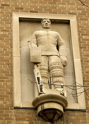 Goaltender - Elizabeth Wyn Wood's high relief of goaltender Turk Broda at Ryerson University in Toronto