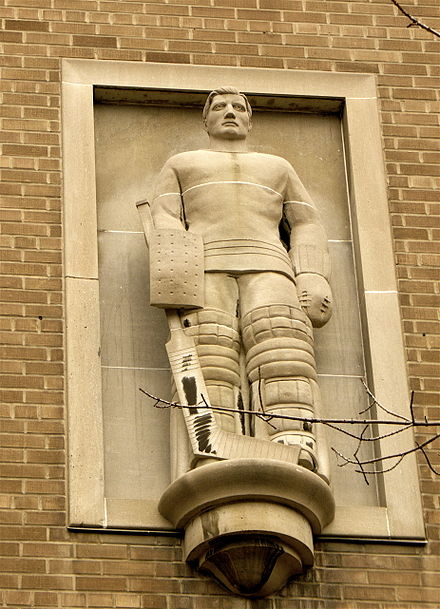 Elizabeth Wyn Wood's high relief of goaltender Turk Broda at Ryerson University in Toronto. Goalie at Ryerson.jpg