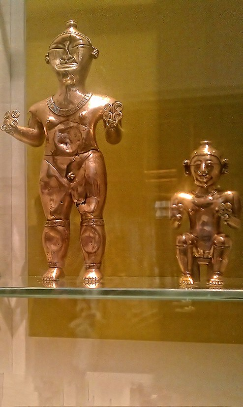 Gold Lime Flasks (poporos) Quimbaya Culture, Colombia AD 600-1100 - British Museum