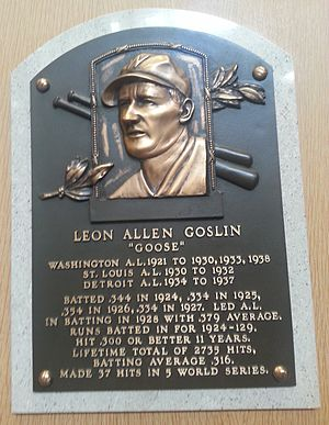 Goose Goslin - Plaque of Goose Goslin at the Baseball Hall of Fame