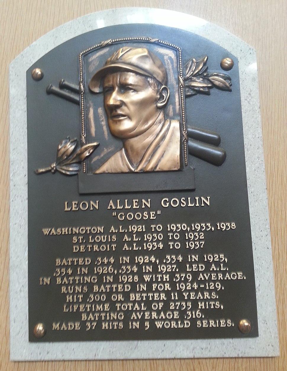 Goose Goslin plaque