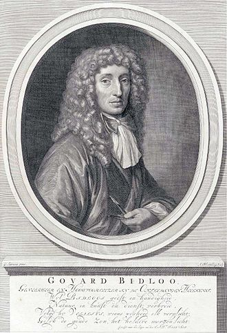 Govert Bidloo - Portrait from his anatomical atlas, from a portrait by Gerard de Lairesse, by Abraham Blooteling.