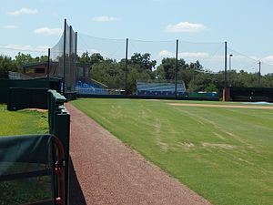 Houston Baptist Huskies - Image: Grandstands from right field line, Husky Field Baseball