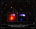 Gravitational lensing by galaxy in cluster IRC 0218, annotated.jpg