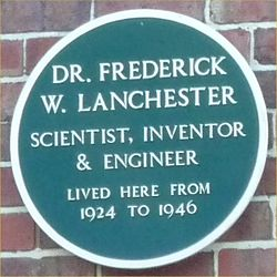Green plaque Frederick W Lanchester.jpg