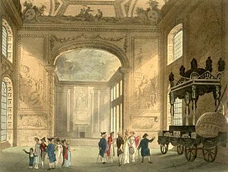Old Royal Naval College - The Painted Hall of Greenwich Hospital as drawn by Augustus Pugin and Thomas Rowlandson