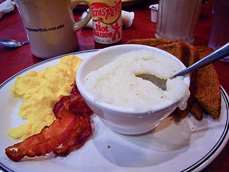 Grits - Grits, as a breakfast side-dish with bacon, scrambled eggs and toast