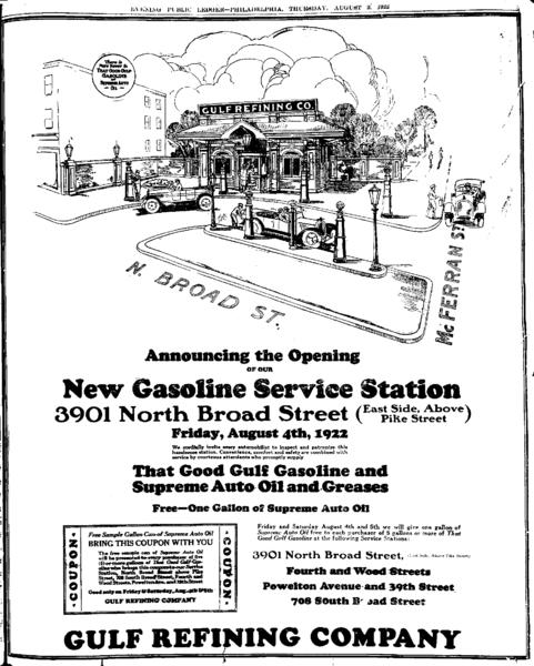 Anuncio de una nueva gasolinera de Gulf en Philadelphia, inaugurada en 1922.