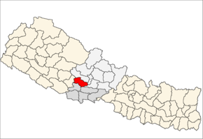 Gulmi District i Lumbini Zone (grå) i Western Development Region (grå + lysegrå)