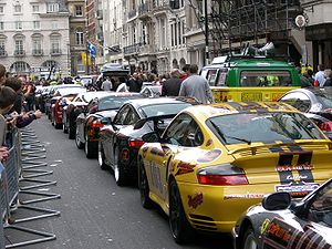 Before the start of the Gumball 3000 in Pall Mall, London, 30 April 2006