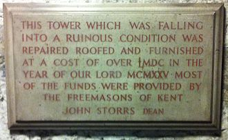John Storrs (priest) - Plaque recording the restoration of the Gundulf Tower