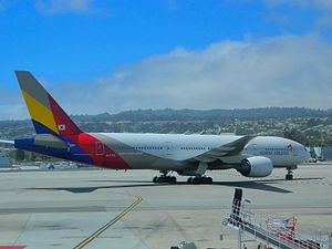 Asiana Airlines Flight 214 - HL7742, the aircraft involved in the accident, pictured at San Francisco International Airport on 25 May 2013, less than 2 months prior to the crash.