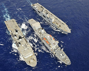 HMS Albion, RFA Fort Rosalie and HMS Ocean Conduct a Replenishment at Sea During Ex Cypriot Lion MOD 45152750.jpg