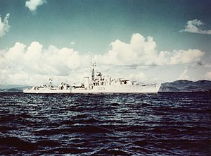 Operation Trident (1971) - A PNS destroyer, Shah Jahan, shown here in the service of the British Royal Navy when it was known as HMS Charity, was badly damaged by Styx missiles fired by INS Nipat on 4 December 1971