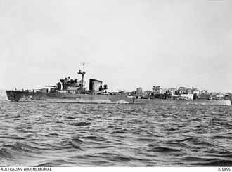 Battle of Badung Strait - HNLMS Tromp in Sydney after undergoing repairs for damage sustained during the battle