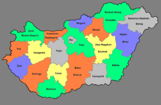 NUTS statistical regions of Hungary - NUTS 3 regions of Hungary