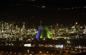Haifa Bay - The cooling towers of the  Haifa oil refinery are a nationally recognized symbol of Haifa as a center of industry.