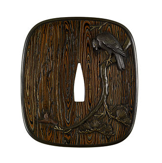 Mokume-gane - Image: Hamano Masanobu Tsuba with a Hawk and a Sparrow Walters 51381