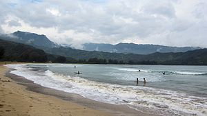 Hanalei, Hawaii - The beach at Hanalei Bay