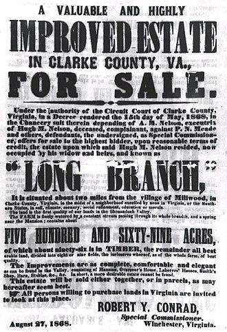 Long Branch Plantation - Handbill publicizing the public auction of Long Branch