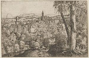 Hanns Lautensack - View of Steyr, etching by Hans Sebald Lautensack (1554)