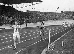 Athletics at the 1928 Summer Olympics – Men's 1500 metres - Finish of the 1500 m final: first Harri Larva, second Jules Ladoumègue