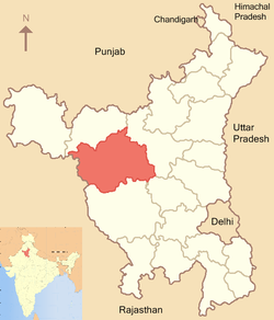 Location of Hisar district in Haryana