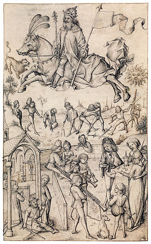 "Master of the Housebook - The Sun and his children, drawing from the ""Housebook"""