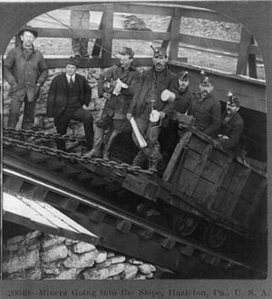 History of coal mining - Coal miners in Hazleton PA, USA, 1905