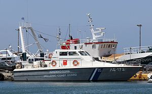 Hellenic Coast Guard - Coastal patrol boat ΛΣ-172 type LCS-57 Mk.II at Zea marina coast guard station, Piraeus.