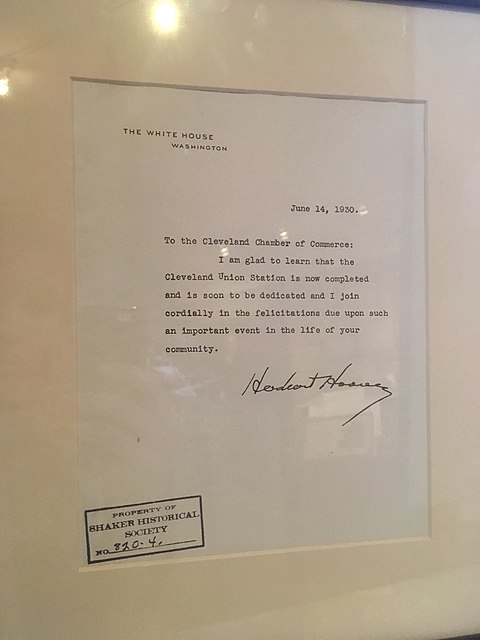 President Hoover congratulates the Cleveland Chamber of Commerce on the completion of Cleveland Union Terminal, June 14, 1930. Herbert Hoover letter to Cleveland Chamber of Commerce.jpg
