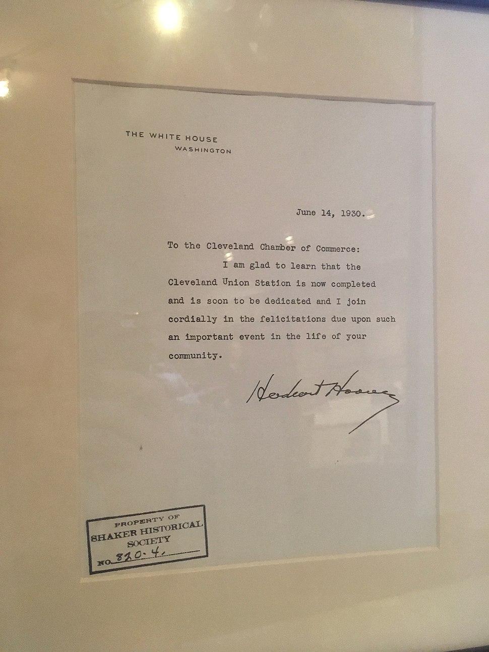 Herbert Hoover letter to Cleveland Chamber of Commerce