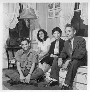 Chiura Obata - Professor Obata and family in 1944; (L–R):Gyo, Lily, Haruko, Prof. Obata.