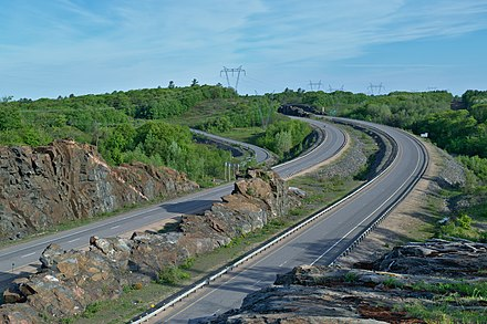 Highway 400 in Seguin. The roadway forms a part of the province's 400-series highways. Highway 400 Seguin.jpg