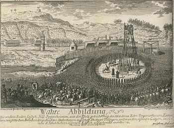 Execution of Joseph Suss Oppenheimer on February 4, 1738 at the gates of Stuttgart
