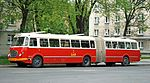 Historical bus Jelcz 021 (-549, reg. KR 55G, built 1975), owned by MPK Kraków. This is the only remaining vehicle of this class in the world. Przyjazni Av, Nowa Huta, Poland.jpg
