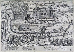 Destruction of the Oberstift - Ernst's troops enter the double fortress at Poppelsdorf November 1583.
