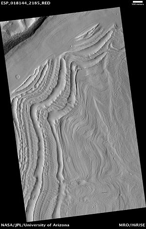 Glaciers on Mars - Image: Hollows as seen by hirise under hiwish program