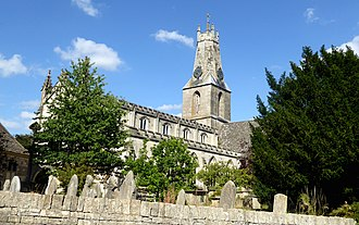 "Minchinhampton - The parish church, Minchinhampton, with its unusual ""coronet"" tower"