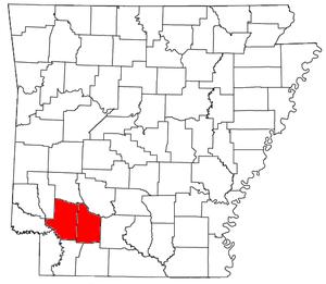 Hope micropolitan area - Location of the Hope Micropolitan Statistical Area in Arkansas
