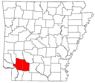 Hope micropolitan area - Location of the Hope Micropolitan Statistical Area in Arkansas