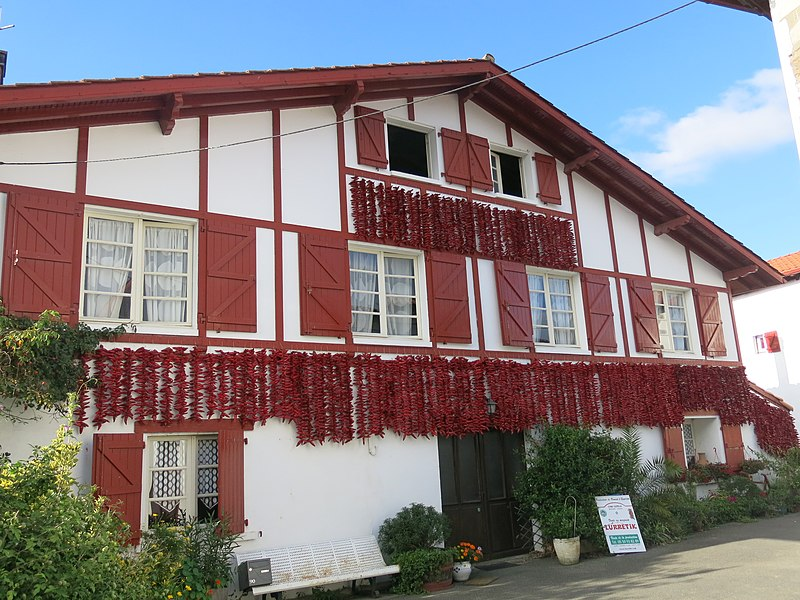 House with drying peppers in Espelette, (Pyrénées-Atlantiques, France).