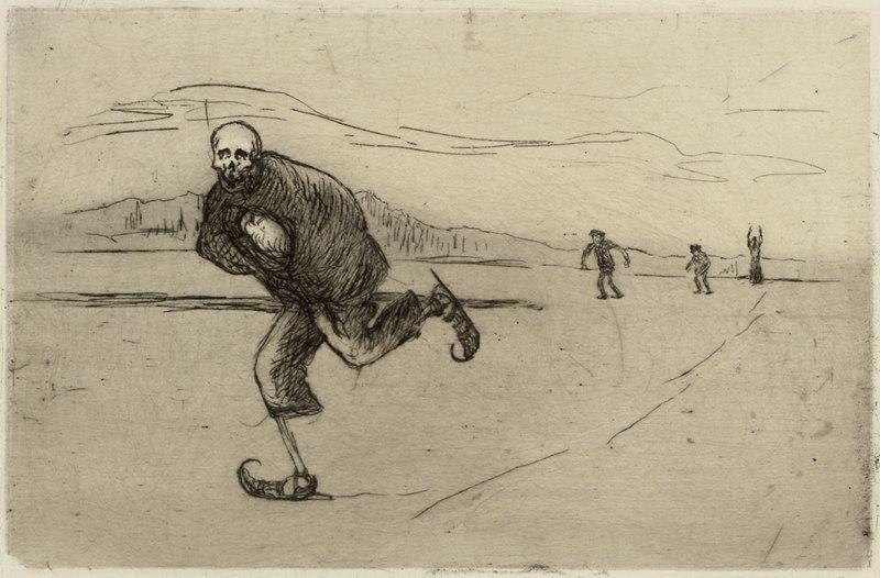 Hugo Simberg - Death on Skates; Death Skating