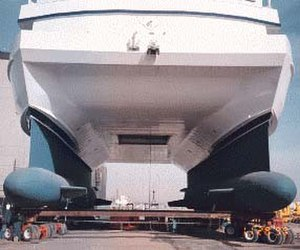 Moon pool - Underside of the Research Vessel Western Flyer, showing its moon pool between the two hulls.